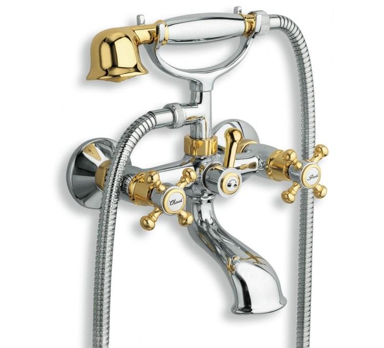 inverseur bain douche avec support douchette retro et flexible laiton