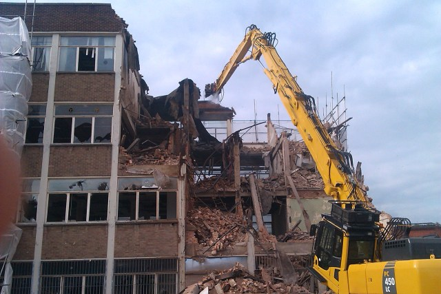 Demolition of urban multi-storey