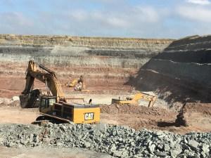 Open-cast mining for gypsum rock