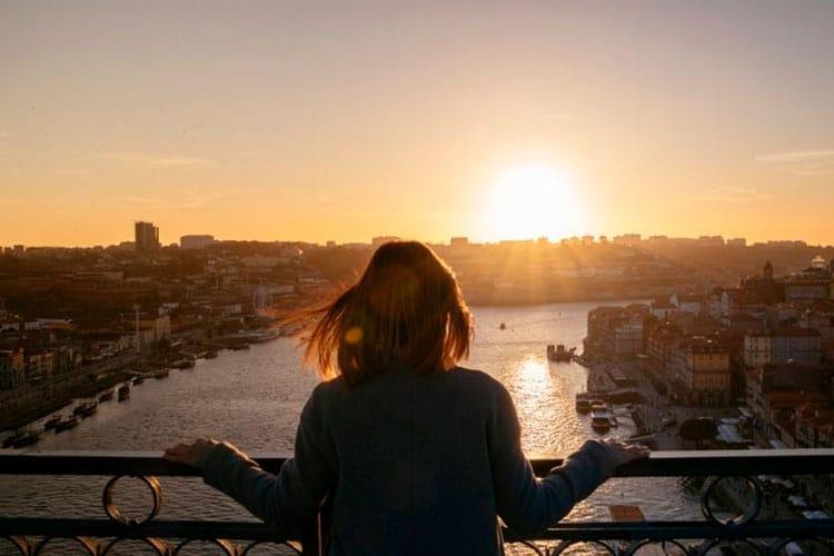 pôr do sol no Porto