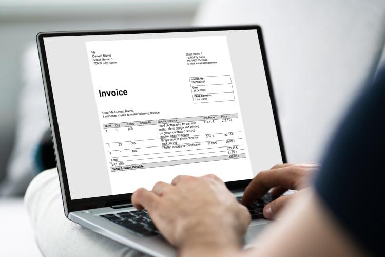 Preencher formulário do invoice