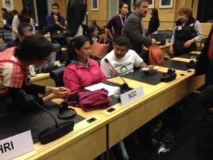 Padres de normalistas desaparecidos en el Comité contra Desapariciones Forzadas de la ONU en Ginebra. Foto: Marco Appel