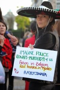 Manifestación por Ayotzinapa en Bruselas el 31 de octubre. Foto: Bart Fillé.