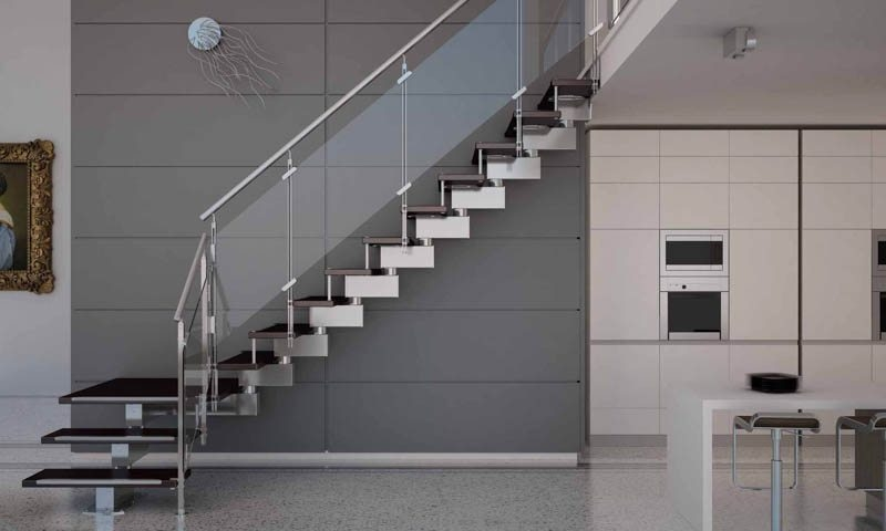 Modern Staircases European Cabinets Design Studios   Modern Glass Staircase Design   Half Wall Glass   Marble Floor Glass   Modern Style   Stainless Steel   Stair Case