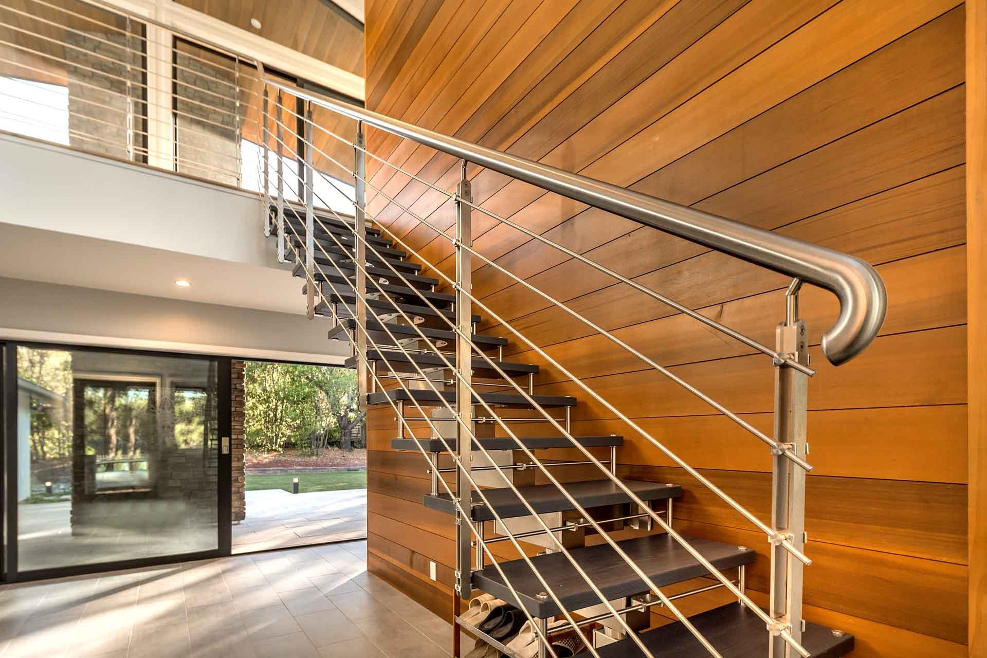 Modern Staircases European Cabinets Design Studios   Wood And Glass Staircase   New   Spiral   Stair Railing   Design   Stair Case