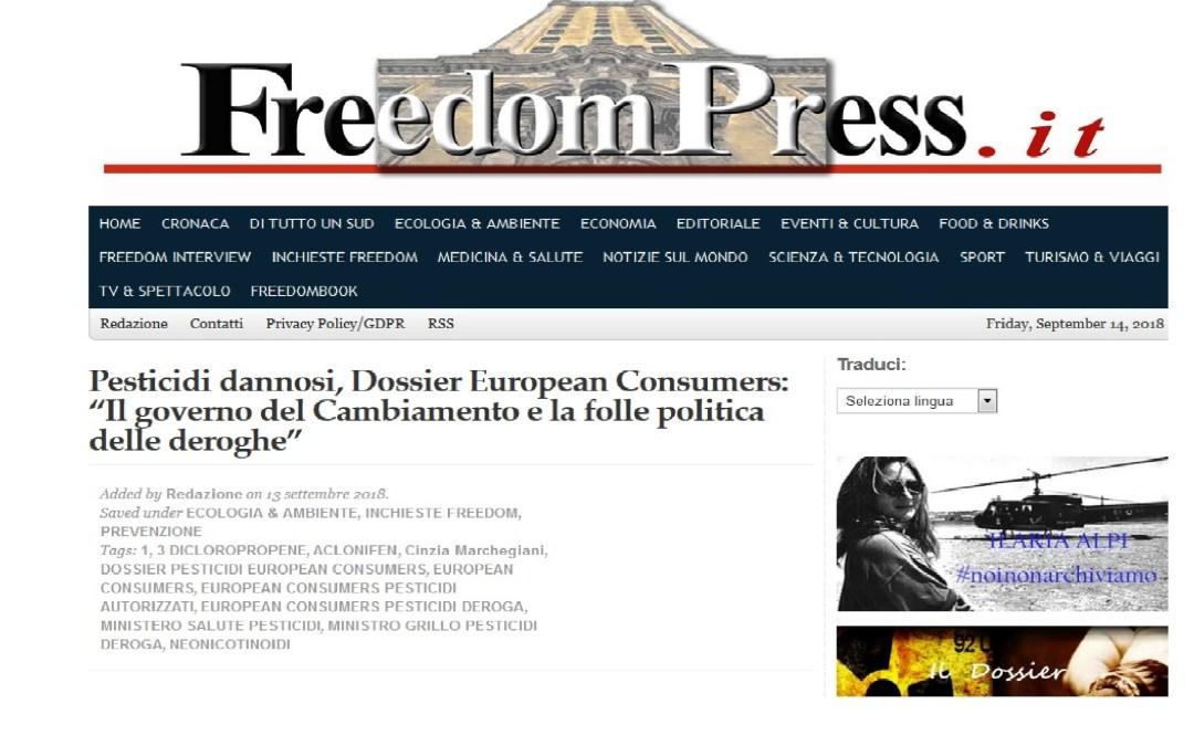 FreedomPress pubblica i dati della ricerca di European Consumers sui pesticidi derogati dal governo del Cambiamento