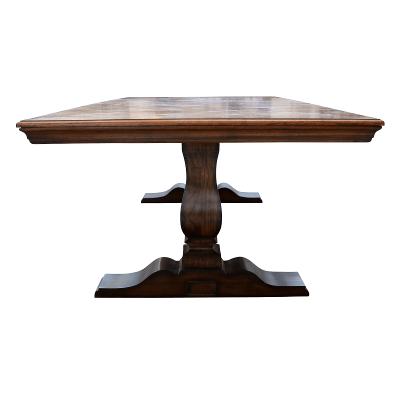 European Design French Pedestal Base Dining Table In Rustic Parquetry