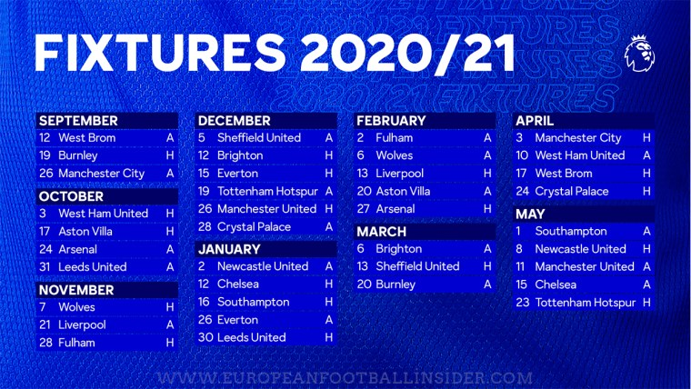 premier league fixtures 2020 2021 every club full fixtures list premier league fixtures 2020 2021