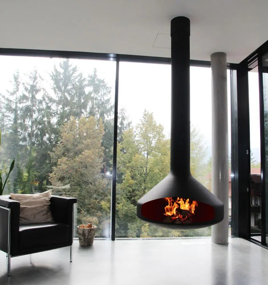 ERGOFOCUS By Focus Fires Suspended Open Faced Fireplace