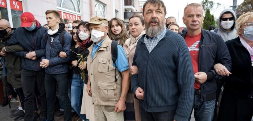 The Snezhkov family at a protest in Gomel on September 27