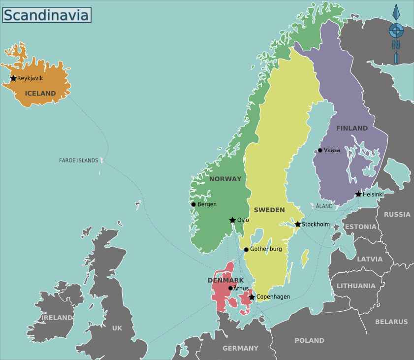 Map of Scandinavia including Finland, Iceland and Faroe Islands.