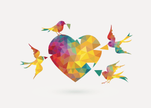 birds filling in a heart jig-saw puzzle