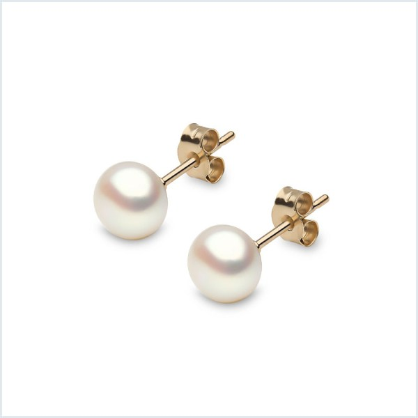 Euro Pearls Button Shape Freshwater Pearl Stud Earrings