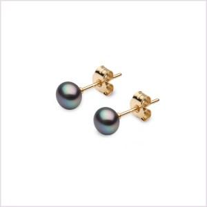Euro Pearls Black Button Shaped Freshwater Pearl Stud Earrings