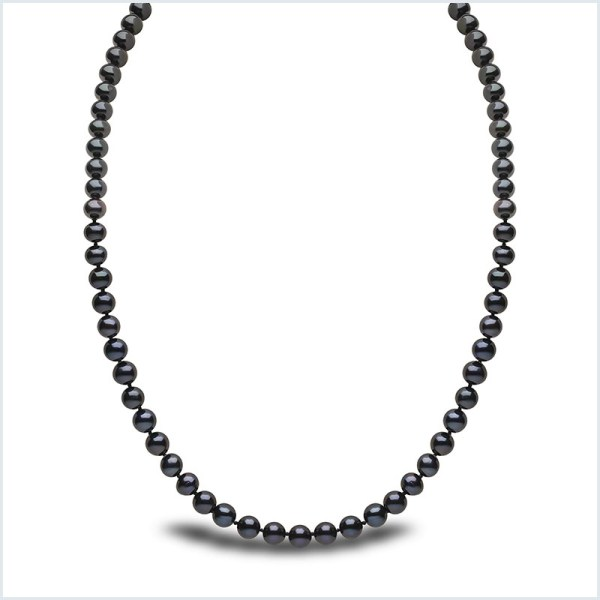 Euro Pearls 6mm Black Freshwater Pearl Necklace