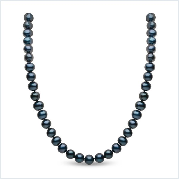 Euro Pearls 8mm Black Freshwater Pearl Necklace