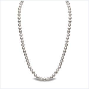 Euro Pearls 6mm Grey Freshwater Pearl Necklace