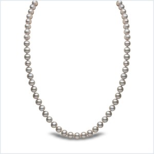 Euro Pearls 7mm Grey Freshwater Pearl Necklace