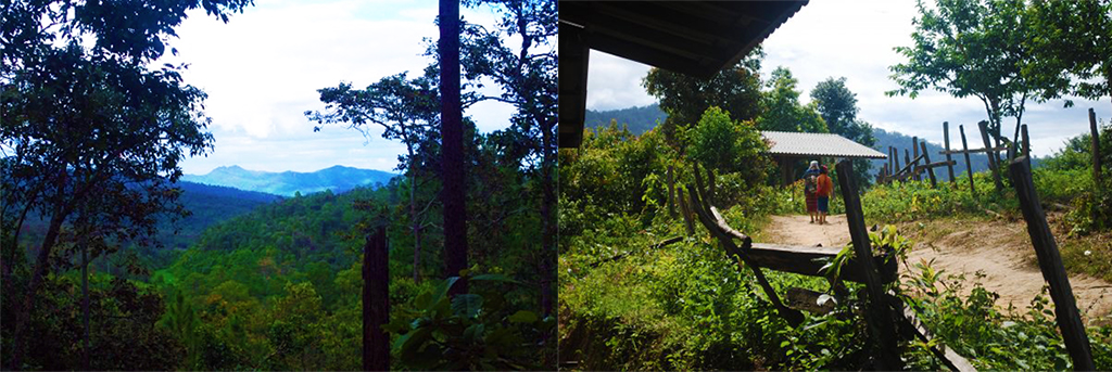 On the right views over the jungle and on the right a mother and daughter make their way through a small village