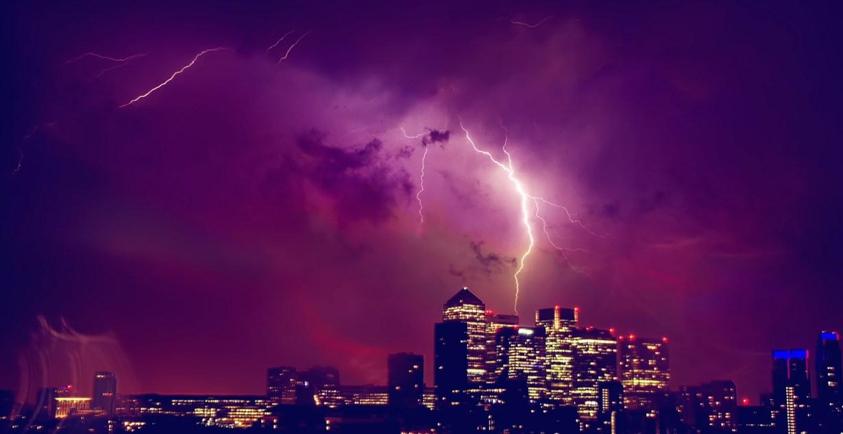 Lightning Strikes Canary Wharf, London by Nick Nomi