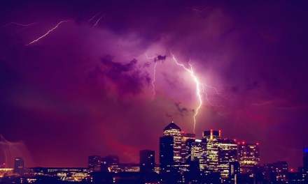 Photo: Lightning Strikes Canary Wharf