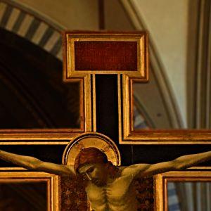 Top panel of Giotti's Crucifix in Santa Maria Novella.