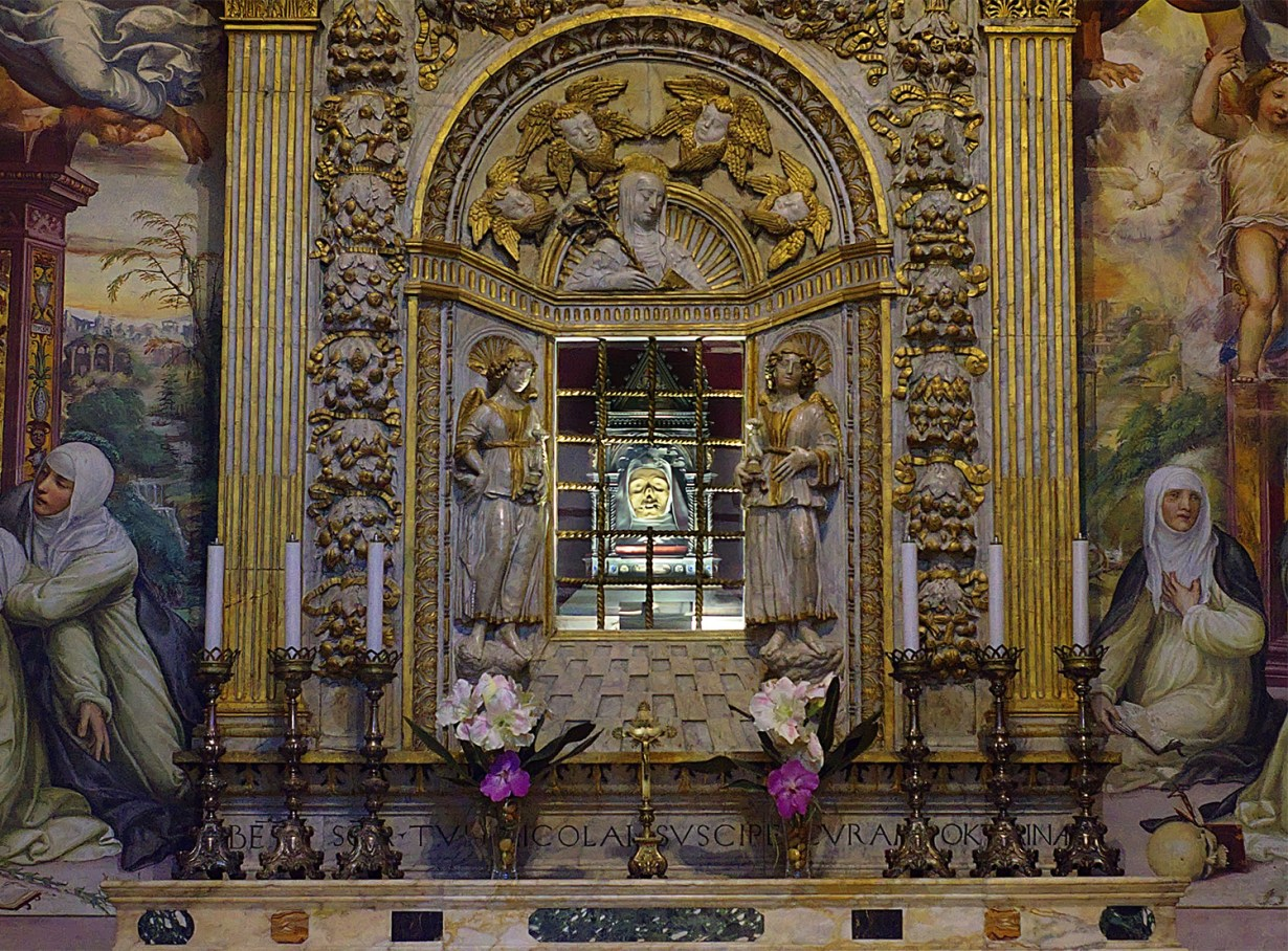 Saint Catherine of Siena's severed head in reliquary at the St. Dominic Basilica, Siena, Italy