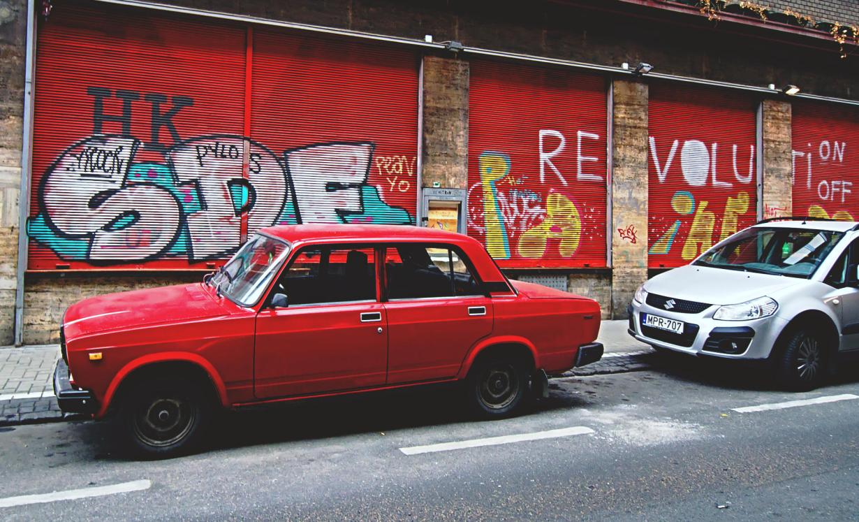 A Red Lada parked inthe Jewish District in Budapest Hungary