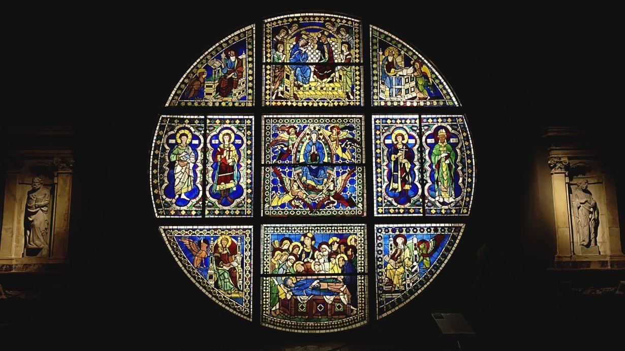 Duccio di Buoninsegna's stained glass window in the Siena Cathedral