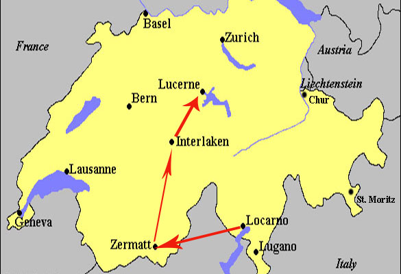 Switzerland Map Lakes Only