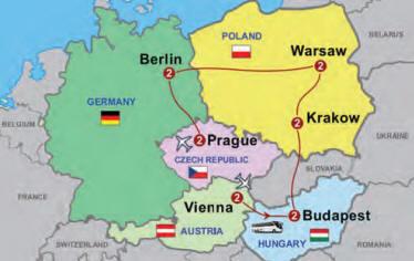 Vienna Budapest Krakow Warsaw Berlin Prague tour map