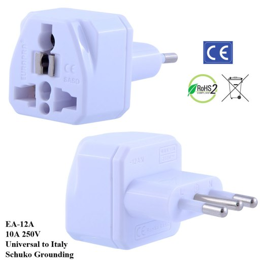 EA-12A_White, Italy Plug Adapter with Schuko Ground
