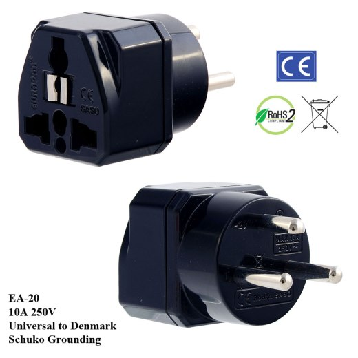 EA-20_Black, Denmark Plug Adapter with Schuko Ground