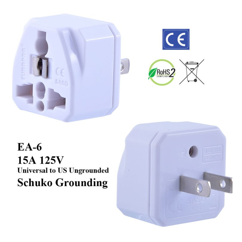 EA-6_White, Ungrounded US Plug Adapter with Schuko Ground