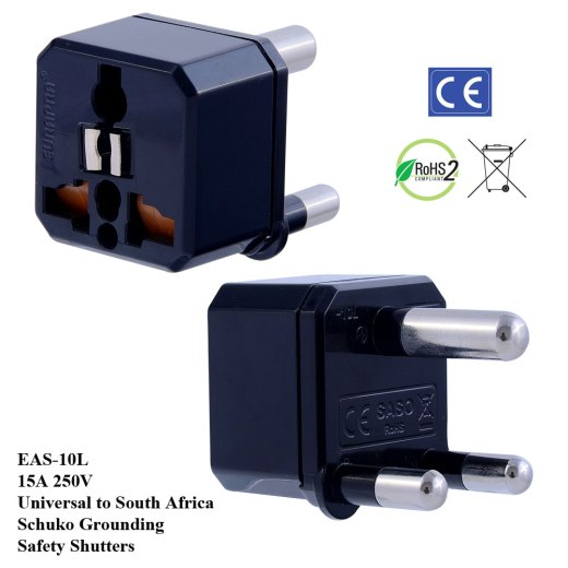 EAS-10L_Black, S Africa Plug Adapter w Schuko Ground & Safety Shutters