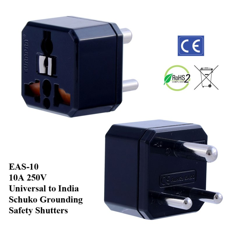 EAS-10_Black, India Plug Adapter w Schuko Ground & Safety Shutters