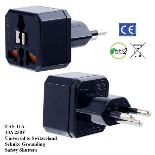 EAS-11A_Black, Swiss Plug Adapter w Schuko Ground & Safety Shutters