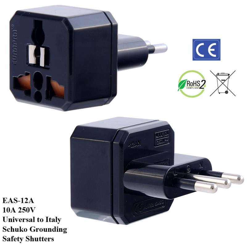 EAS-12A_Black, Italy Plug Adapter w Schuko Ground & Safety Shutters