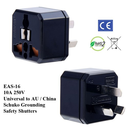 EAS-16_Black, Aus. Plug Adapter w Schuko Ground & Safety Shutters