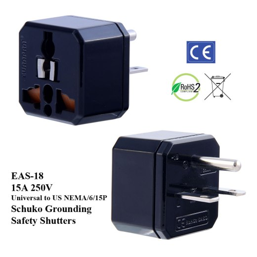 EAS-18_Black, 15A US Plug Adapter w Schuko Ground & Safety Shutters