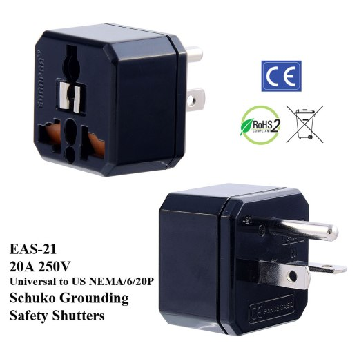 EAS-21_Black, 20A US Plug Adapter w  Schuko Ground & Safety Shutters