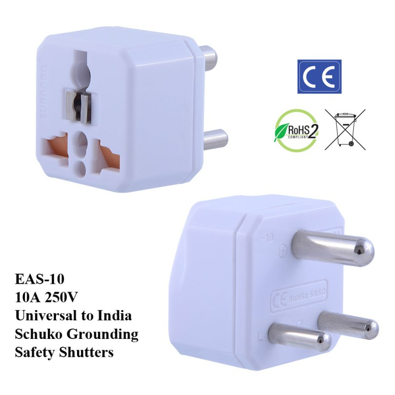 TruAmp WonPro II India Plug Adapter w Safety Shutters, Schuko Ground