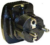WAS-L-9_black, Germany France Plug Adapter with Push-Out Safety Shutters and South Africa Outlet
