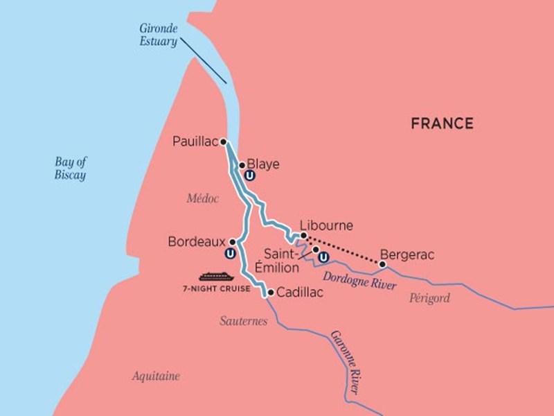 River Location Map Bordeaux France