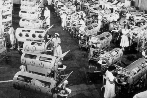 Room with so-called 'iron lungs' for serious cases of polio.|Polio Eradication