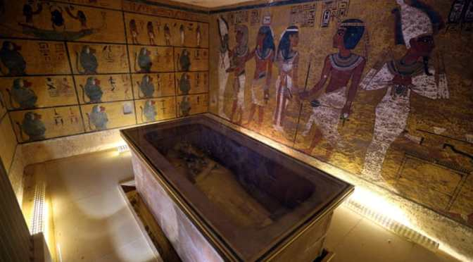A sarcophagus, containing DNA of mummies