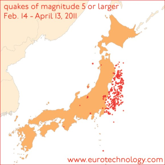 Earth quakes of magnitude 5 and greater in Japan (March-April 2011) (Figure: Wolfram Alpha LLC)