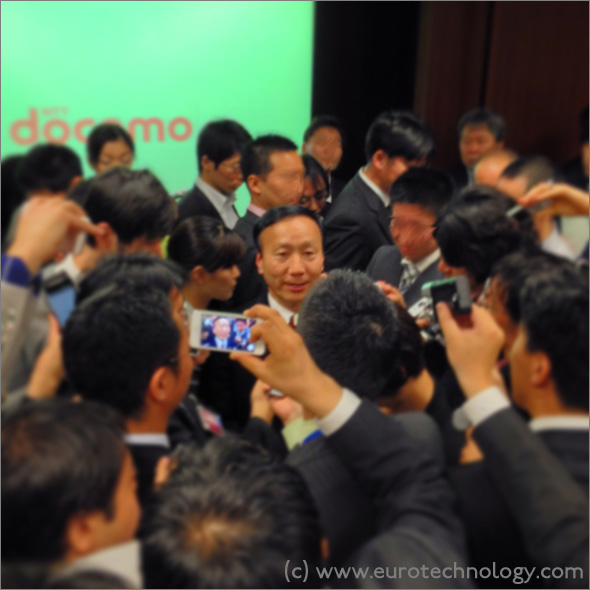 Docomo financial report: Kaoru Kato, CEO of NTT-Docomo, bathing the crowd and answering questions at the annual results meeting on April 25, 2014 in Tokyo