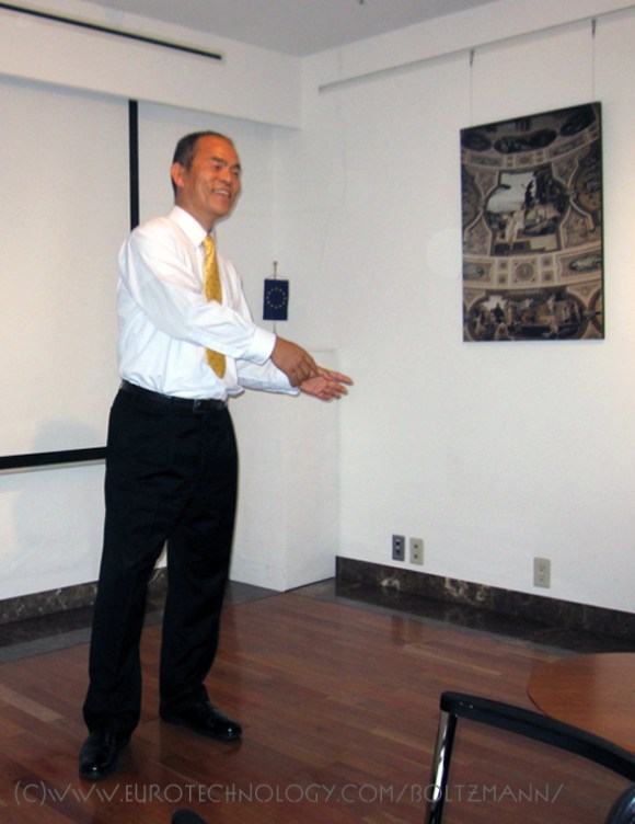 Shuji Nakamura talking passionately at the Ludwig Boltzmann Forum in Tokyo 2013