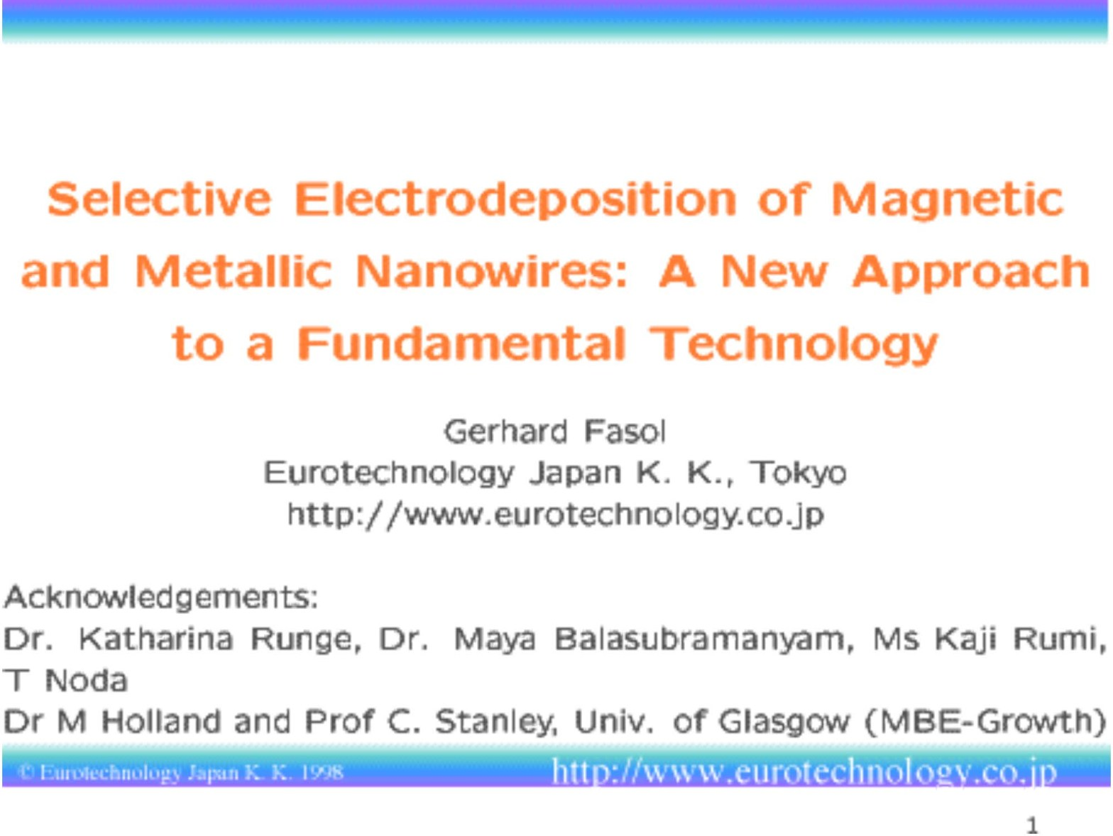 Selective electrodeposition of magnetic and metallic nanowires - A new approach to a fundamental technology